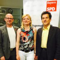 Frank Firsching, DGB-Regionsgeschäftsführer, Marietta Eder, neue AfA Bezirksvorsitzende und MdB Klaus Barthel